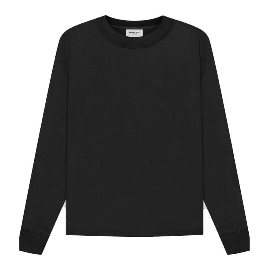 ao-thun-fear-of-god-essentials-Long-Sleeve-t-shirt-ss21-Black-Stretch Limo